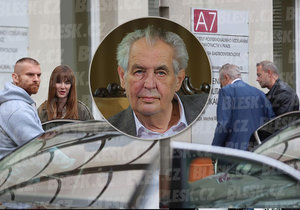 Prezident Zeman zamířil dobrovolně na vyšetření do nemocnice, doprovodila ho dcera Kateřina (24. 9. 2019)