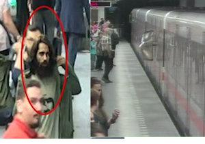 Muž v metru Pražského povstání vykopl skleněnou výplň.