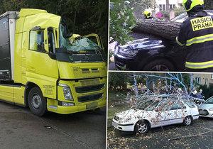 Silný vítr v Česku lámal větve, ničil auta a zranil i řidiče kamionu (30. 9. 2019)