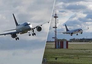 Letadla na pražském letišti měla kvůli silnému vichru potíže, 30. září 2019.
