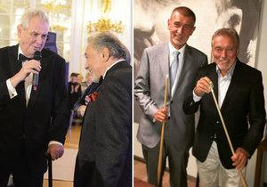 Miloš Zeman a Andrej Babiš s Karlem Gottem. Zlatý slavík zemřel ve věku 80 let, politici nyní truchlí