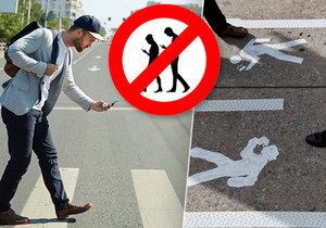 Chodci s mobilem jsou sami sobě nebezpeční, Praha pro ně dopravní opatření nechystá.