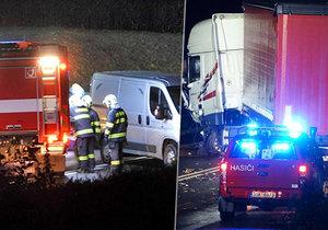 U Kolína se srazil náklaďák s automobilem: Bouračka skončila smrtí