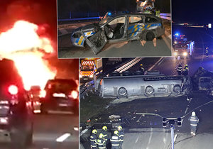 Ohnivé peklo na D1: Při hromadné bouračce uhořel řidič!