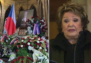 Během zádušní mše za Karla Gotta v katedrále Svatého Víta promluvila i Jiřina Bohdalová