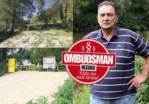 Ombudsman Blesku pomohl k odstranění baru na břehu Sázavy.