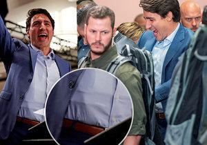 """Premiér v ohrožení? Trudeau musel na mítink v neprůstřelné vestě a s """"ostrými hochy"""""""