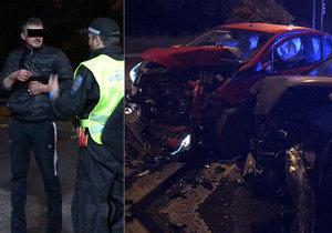 Děsivě vypadající nehoda na východě Prahy. Opilý řidič (31) se schovával na benzínce