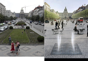 Václavské náměstí čeká proměna. Více místa pro chodce, méně pro auta a zavedení tramvajové linky.