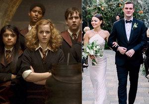 Hvězda Harryho Pottera slavila svatbu! Se synem zakladatele Playboye.