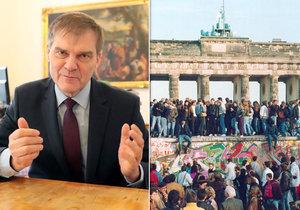 Bývalý velvyslanec v Berlíně Rudolf Jindrák při rozhovoru pro Blesk a pád Berlínské zdi v roce 1989