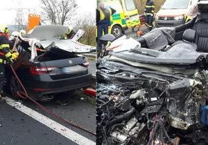 Vážná nehoda si u Postoloprt vyžádala jednu oběť. Pro další zraněné musely vzlétnout dva vrtulníky.
