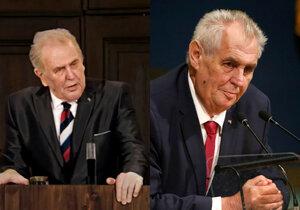 Prezident Miloš Zeman je na fotografii vpravo. Vlevo je pomocí moderních technologií vyrobený dvojník.