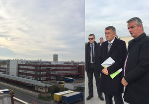 Premiér Andrej Babiš si prohlédl budovy v Malešicích, v nichž sídlí Česká pošta. Mohla by zde vyrůst úřednická čtvrť.
