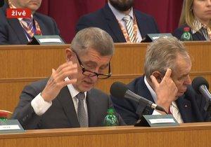 Premiér Andrej Babiš (ANO, vlevo) a prezident Miloš Zeman na Velitelském shromáždění v Praze (20. 11. 2019)