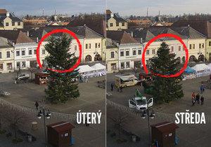 Jedle na náměstí Míru v Bruntále sklidila posměch obyvatel. Do ideálu vánočního stromečku má daleko...