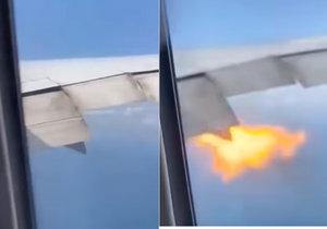 """""""Něco je špatně,"""" křičeli a plakali pasažéři. Boeingu při letu vzplál motor"""