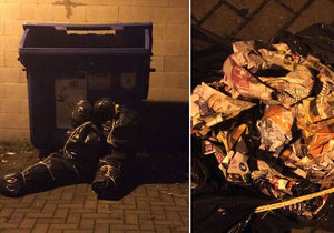 Morbidní vtípek vyděsil obyvatele Olomouce: Neznámý vtipálek položil k popelnicím pytle ve tvaru lidských těl!