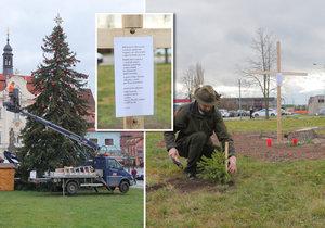 Vánoční strom pro Beroun se zlomil, a tak si ufikli stromek u školy! Místní jsou pořádně naštvaní
