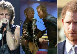 Princ Harry zpívá s Jon Bon Jovim.