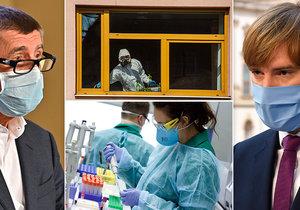 Koronavirus se šíří v Česku i ve světě. Na snímku premiér Andrej Babiš (ANO, vlevo) a ministr zdravotnictví Adam Vojtěch (za ANO)
