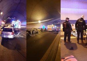 Policisté pomohli řidiči, který se vážně zranil při nehodě v tunelu Blanka.