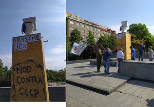 Záchod za Koněva! Na místo po kontroverzní soše někdo postavil porcelánovou mísu, řeší to policie