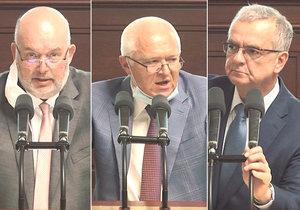 Sněmovna o podílu českých potravin v regálech: Ministr zemědělství Miroslav Toman (za ČSSD), Jaroslav Faltýnek (ANO) a Miroslav Kalousek (TOP 09)