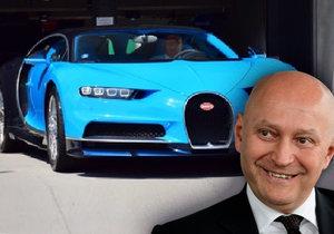 Miliardář Radim Passer boural ve svém bugatti.