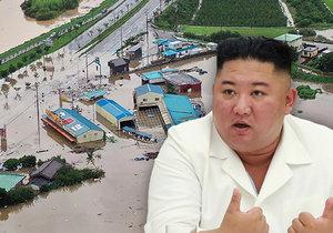 Kim celý v bílém navštívil vesnice postižené záplavami, místní ho vítali jako spasitele.