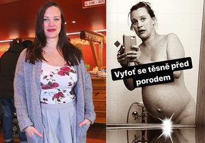 Kristýna Leichtová a její fotka 18 minut před tím, než dcera přišla na svět.