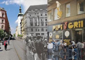 Náměstí svobody tehdy a dnes i legendární PipiGril.