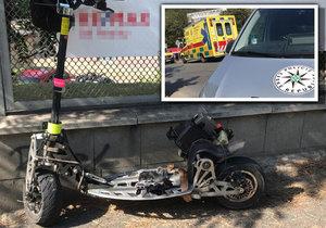 Motorkář se srazil v Prosecké ulici se sanitkou, 14. září 2020.
