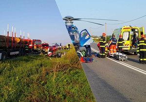 Tragédie u Strážnice: Kamion se čelně srazil s autem! Dva mrtví, třetí bojuje o život