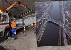 Oprava Barrandovského mostu, 29. září 2020.