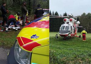 Muž se řízl do krku motorovkou! Záchranáři k němu museli z vrtulníku slanit