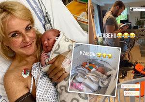 Vendula Pizingerová tři dny po porodu doma