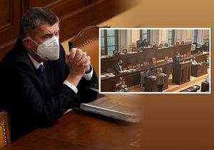 """ŽIVĚ: Babiš žádal poslance o stav nouze do 3. prosince. Z jednání i s ministry ale """"utekl"""""""