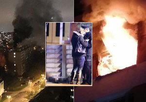 Tragický požár v Krči! Muž zemřel, zastavilo se mu srdce. Kouř bylo vidět z dálky