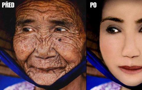 Ze stařenky mladou dívkou! Photoshop umí divy