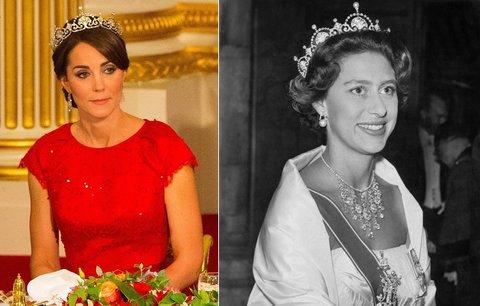Vévodkyně Kate zářila v korunce, která patřila sestře Alžběty II.