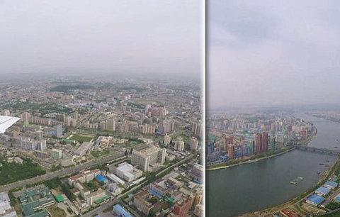 Hlavní město duchů: Severokorejský Pchjongjang z letadla je téměř liduprázdný