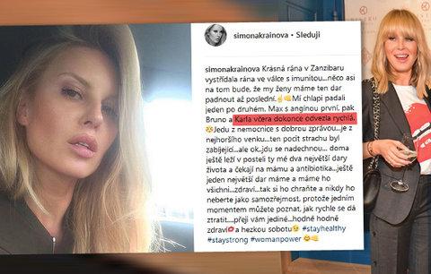 Simona Krainová strachy sotva stojí: Manžela jí odvezla záchranka!