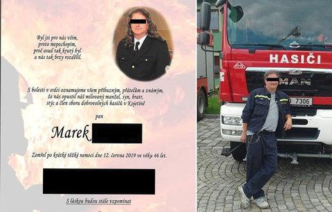 Dobrovolní hasiči truchlí: Jejich kolegu a kamaráda Marka (†46) připravila o život zákeřná nemoc