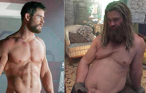 Co se stalo s Thorem? Chris Hemsworth vyměnil svaly za panděro!