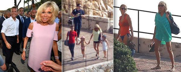 Macronová na dovolené: Nohy jako tyčky, cesta na pláž s vnoučaty a letní sídlo prezidentů