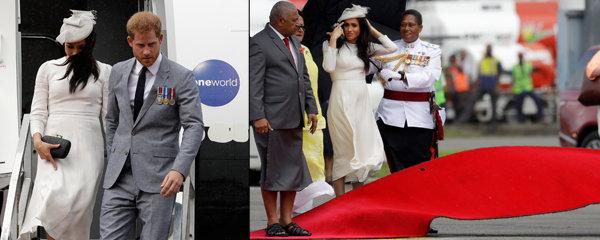 Potíže těhotné Meghan na Fiji: Sprška a neposlušný červený koberec