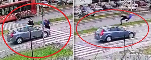 Drsné záběry nehody: Řidič v plné rychlosti smetl chodce na přechodu!