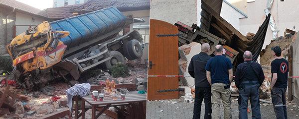Náklaďáku v Sedlčanech selhaly brzdy: Smetl dvě auta a skončil zapíchnutý v restauraci!