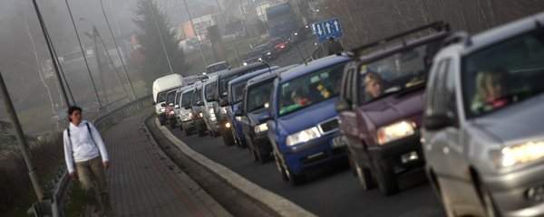 Ucpaná silnice v Polsku (ilustrační foto)
